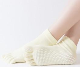 Gule Yoga / Pilates Tåstrømper Anti-Slip Sål - Str. 36-40