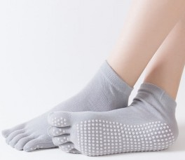Grå Yoga / Pilates Tåsokker Med Anti-Slip Sål - Str. 36-40