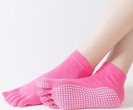 Pink Yoga / Pilates Tåsokker Med Anti-Slip Sål - Str. 36-40
