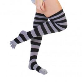 ToeToe Over Knee Knæsokker Med Adskilte Tæer, Grå / sort
